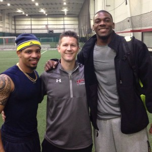 Jim Kielbaso with Delonte Hollowell and Devin Funchess